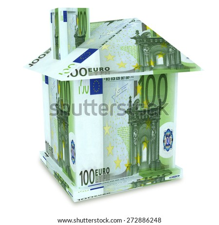 House euro from the money isolated on white - stock photo