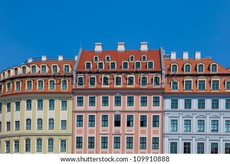 House facades on the Neumarkt in Dresden, Germany - stock photo