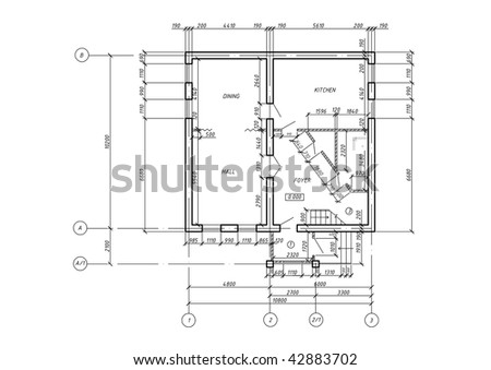 House Floor Plan CAD Architectural Project Blueprint First Floor