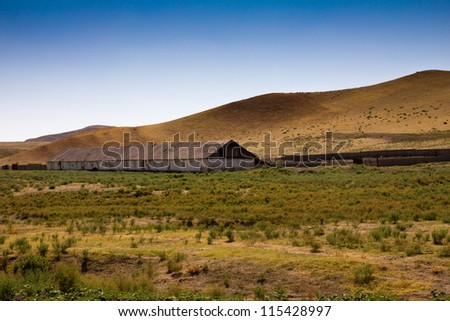 House for livestock in the steppe of Kazakhstan