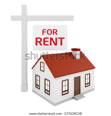 House for Rent on the white background - stock photo
