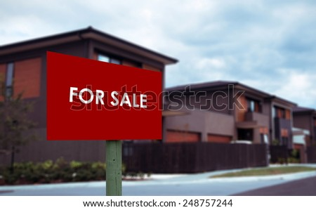 house for sale sign closeup - stock photo