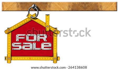 House For Sale Sign - Wooden Meter. Yellow wooden meter ruler in the shape of house with text for sale. For sale real estate sign isolated on white background - stock photo