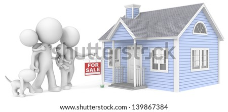 House for sale. The Dude with family looking at house for sale. - stock photo