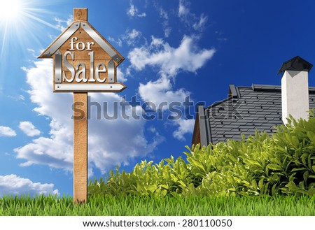 House For Sale - Wooden Sign with Pole. Sign in the shape of house with text for sale and wooden pole. For sale real estate sign on blue sky with roof, clouds and sun rays - stock photo