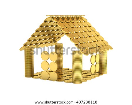 House from coins isolated on white 3d illustration - stock photo