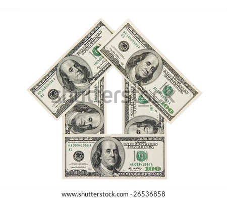 House from dollar in the white background
