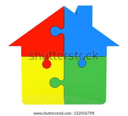 House from puzzles on a white background - stock photo