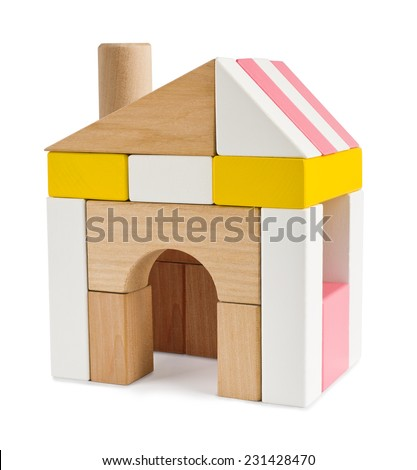 House from toy building blocks isolated on white - stock photo