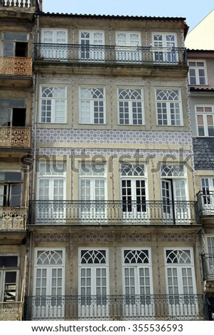 House Front adorned with Azulejos (Wall Tiles) in Porto, Portugal