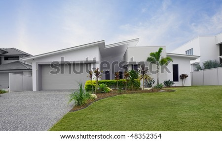 house front modern town house in Australia - stock photo