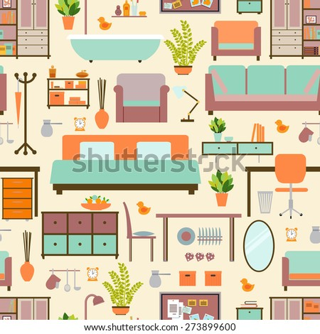 House furniture pattern seamless, background home, object decoration, sofa and indoor