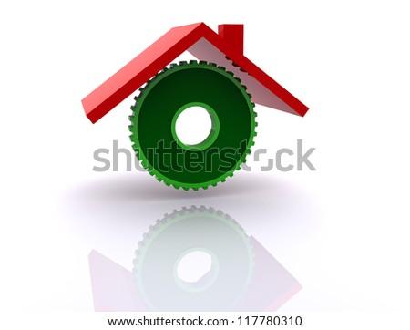 House gear 3D - stock photo