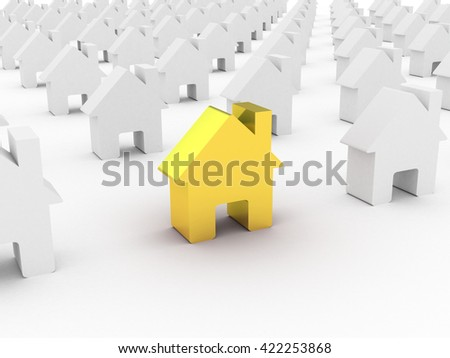 House gold  among white houses, 3D rendering