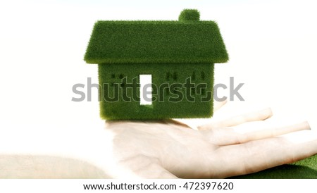 house grass 3d renderings with hand