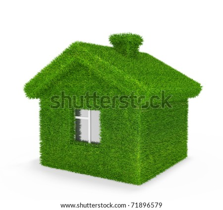House, grass, ecology, - stock photo