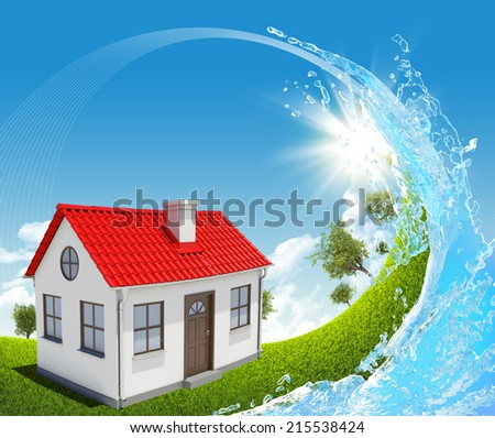 House, green meadow and water splash - stock photo