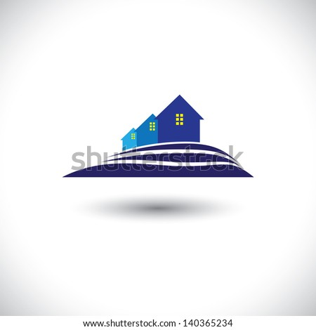House ( home ) & residence icon for real-estate. This graphic  illustration is also a icon for buying & selling property, residential accommodations, offices, etc - stock photo