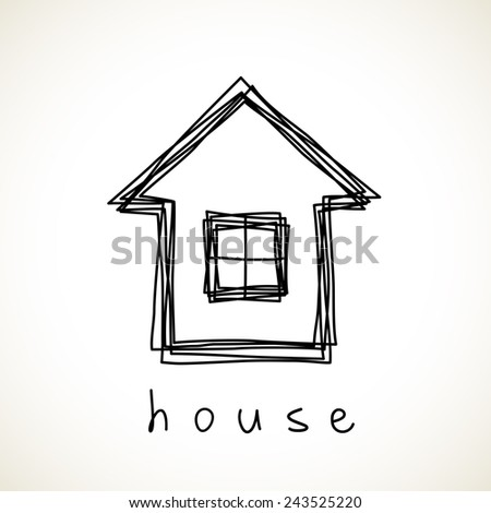 House icon. Doodle hand drawn sign of real estate. Childish illustration for print, web - stock photo