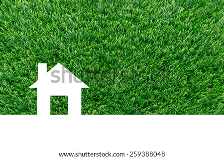 house icon from grass background, isolated on white, Eco house concept - stock photo