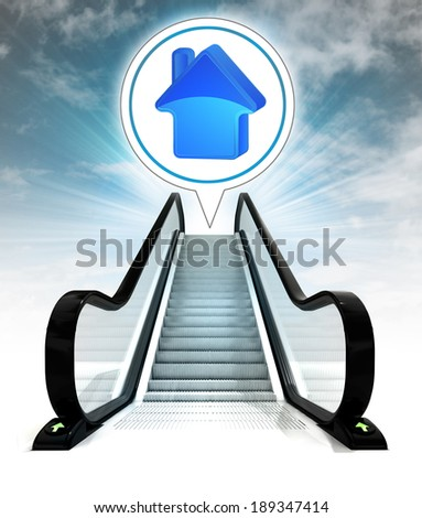 house icon in bubble above escalator leading to sky concept illustration - stock photo