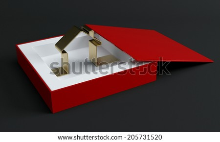 House icon in gift box. 3d render illustration - stock photo