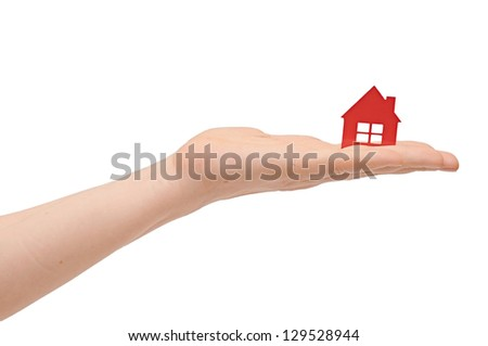 House icon in the hand, Isolated - stock photo