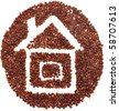 house icon is lined with coffee beans on white background - stock photo
