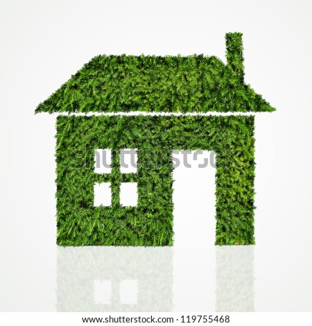 House icon made of green tree on white background