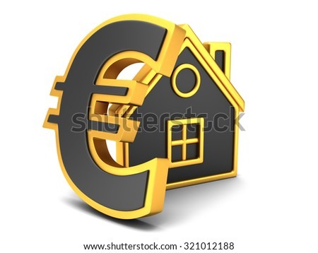 House Icon with euro sign - stock photo