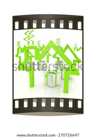 House icons and gifts. The film strip