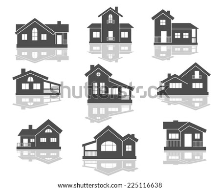 House icons set in grey and white with reflections for real estate design - stock photo