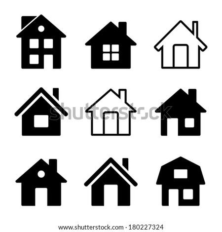 House Icons Set on White - stock photo