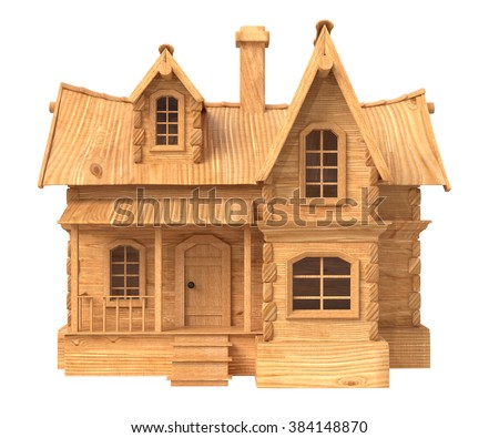 House illustration with a decorative roof, a chimney and a facade/3d house cartoon illustration