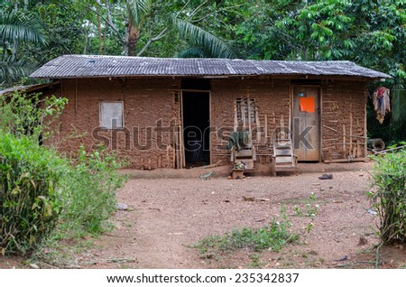 House in an african village, outdoor shot, Cameroon