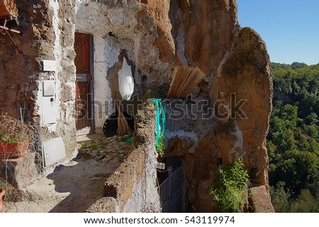 house in Calcata, ancient town In Italy