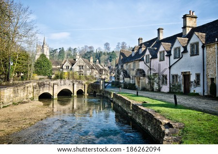 House in Castle Combe - stock photo