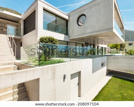 House in cement,  modern architecture, outdoor - stock photo