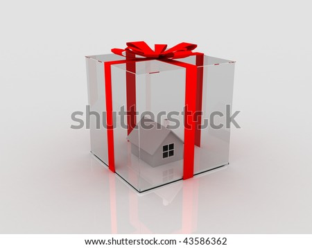 house in glass wrap with red ribbon in 3d