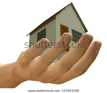 HOUSE IN HUMAN HAND - 3D - stock photo