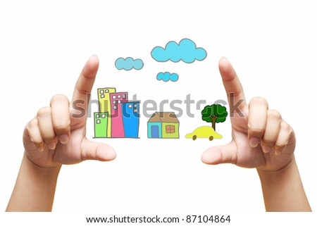 house in human hands - stock photo