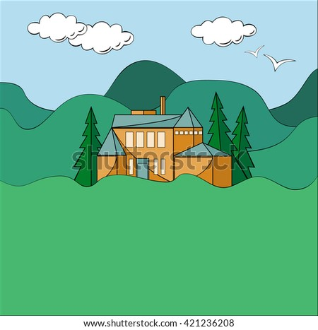 House in mountains. Raster illustration with rural landscape. House between green mountains, pine trees, blue sky with clouds and a couple of birds. South European architect style. - stock photo