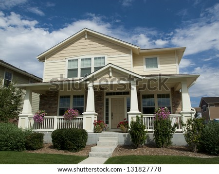 House in suburban development of Denver, Colorado. - stock photo
