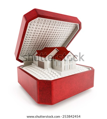 House in the box isolated on white background - stock photo
