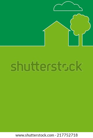 House in the country flat background