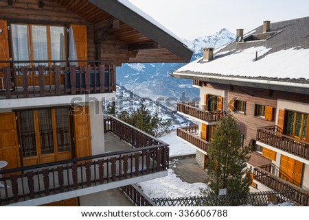 House in the mountains, the Swiss Alps winter - stock photo