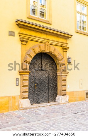 House in the Old town of Krakow, Poland - stock photo