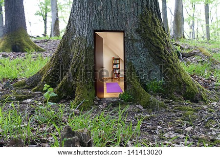 house in the tree - stock photo