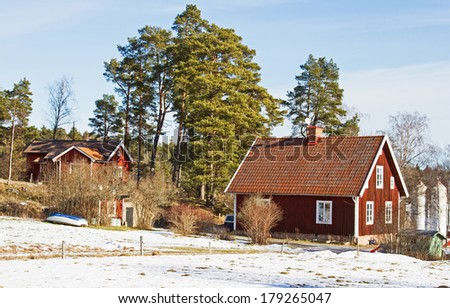 House in wintertime.. Houses and environment in Sweden.