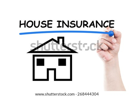 House insurance concept text write on transparent wipe board by hand holding a marker - stock photo